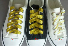 Gold / Silver Thread Shoelaces Flat All-match Stunning Lace Shoelaces 45/71""
