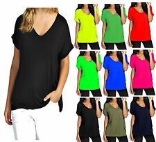 Ladies Women's V Neck Turn Up Short Sleeve Baggy Oversized T Shirt Top SM,ML,XL