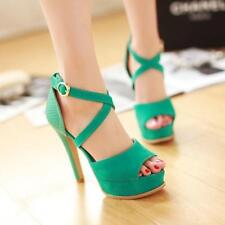 Women Open Toe High Heel Platform Sandals Strappy Buckle Ankle Shoes 4 Colors