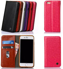 Magnetic Luxury PU Leather Flip Wallet Card Stand  Case Cover For iPhone&Samsung