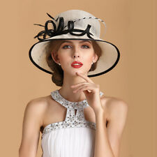 New Church Kentucky Derby Wedding Party Sinamay Wide Brim Dress Feather Flax hat