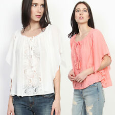 TheMogan Pleated Lace Peasant Blouse Boho Gauze Butterfly Sleeve Top