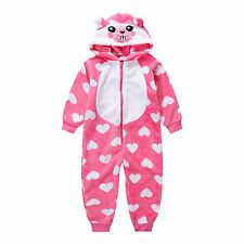 Pyjamas Girls Winter Fleece Onesie Jumpsuit (Sz 8-14) Pink White Hearts Sz 8 10