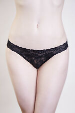 Playful Promises Lucy Black Lace Low Rise Bikini Brief or Thong S-XL NWT