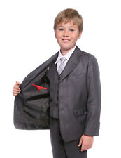 Boys Mid Grey Suit Formal Wedding Prom  Cruise 5 Piece Age 1-13 Years Vito New