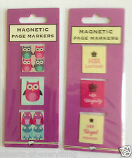 Magnetic Bookmark Page Markers 3 Pack - Owls or Her Ladyship