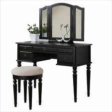 Girls Vanity Stool and Mirror Set Makeup Jewelry Furniture Storage Table Gift