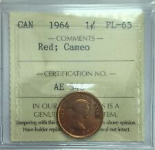 1964 Canadian One Cent Coin ICCS Graded PL-65 Red;  Cameo