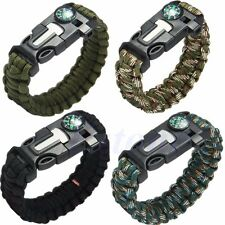 5 in1 Camping Gear Paracord Survival Bracelet Compass/Flint/Fire Starter/Whistle
