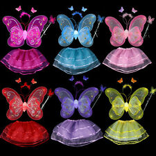 Little Girls' Fairy Butterfly Wings Wand Headband Party Colored Skirt Costume