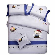 Bedding Set Queen Quilt Doona Duvet Cover Kids Bed Sheet Pillowcase  -Sail Boat