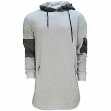 Mens Soulstar Super Longline Hooded Sweatshirt Hoody Cross Neck Contrast Dip Hem