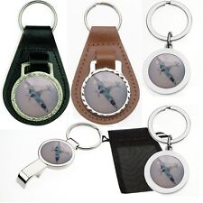 SPITFIRE AEROPLANE LEATHER METAL KEYRING BOTTLE OPENER WW2 VARIOUS STYLES