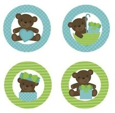 Teddy Bear Baby Boy {Blue & Green} Edible Cupcake Toppers Decoration