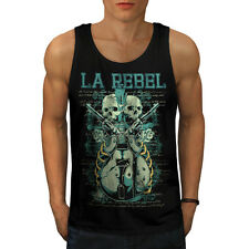 LA Rebel Guns Music Skull Pistol Mens Tank Top S-2XL New by Wellcoda