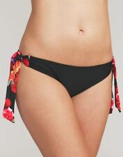 Midnight Grace Flamenco Rose Tie Side Bikini Brief Black Red Floral V Sizes NEW