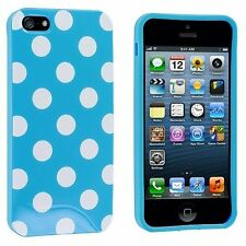Light Blue TPU Polka Dot Rubber Skin Case Cover for New Apple iPhone 5 5G 5th DW