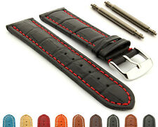 Men's Two-Piece Extra Long Genuine Leather Watch Strap Band Croco, Spring Bars