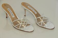 $775 New Manolo Blahnik White Pearly Patent Torugale Slide Sandals Shoes 37