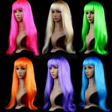 Womens Long Straight Wigs Hair Cosplay Party Full Wigs Long Bangs Multi-Colors