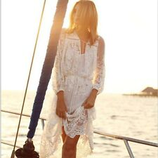 Women Sexy Sheer Lace Crochet Summer Boho Long Dress Evening Party Casual Beach