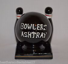 Vintage Mid Century Ceramic Bowlers Ashtray ~ Black with Bowling Ball and Pins