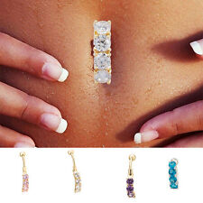Crystal Dangle Navel Belly Button Ring Bar Body Piercing Jewelry Barbell Rings