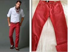 "Mens Tommy Hilfiger Straight Leg Hudson Jeans - Red Size 31"" 34L £95 NEW"