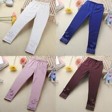 Kids Girls Tight Pants Lace Butterfly Cute Warm Stretchy Leggings Trousers 2-7Y