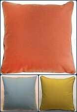 """Plain Soft Quality Cushion Cover Piped Edging in Blue, Ochre/Mustard Orange 17"""""""