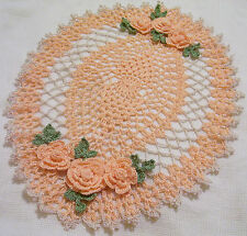 peach lace roses crocheted doily by Aeshagirl