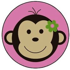 Mod Monkey Pink Edible Cupcake Toppers Decoration