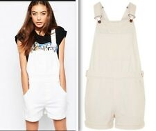 Topshop Denim Dungarees Ecru Overalls Shorts Size 12, 14 NEW TAGS