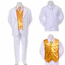 New Baby Boy Formal Wedding Party White Suit Tuxedo + Yellow Vest Tie Set 2T-4T