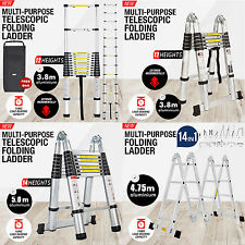 3.8M 5.0M Multi-Purpose Folding Telescopic Aluminium A Frame Ladder 150KG Uk CE