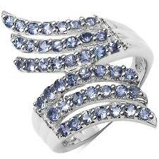 1.54CTW Genuine VVS Tanzanite Layered Knuckle Sterling Silver & Rhoduim Ring-925