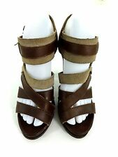CALVIN KLEIN WOMENS TAMIA BROWN LEATHER STRAPPY PUMPS HEELS SHOES SIZE US 7 US