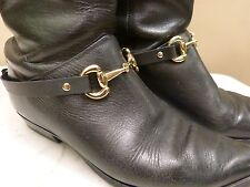 """Pair Leather English Riding Boots Embellishments """"NO SPURS""""™ Gold Snaffle Bit"""