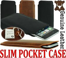 SLIM 3C PREMIUM GENUINE LEATHER POCKET CASE COVER SLEEVE POUCH - RANGE OF MODELS