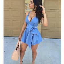 Fashion Sexy Deep V Neck Spaghetti Strap Bowknot VTG Skater Summer Party Dress
