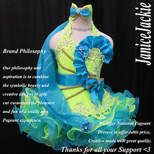 New National Pageant Cupcake Dress Glitz Seafoam Lime Green Blue. Halter Flared