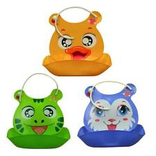 Silicone Waterproof Baby Lunch Bibs Super Soft Infant Baby Kids Feeding Bibs NEW