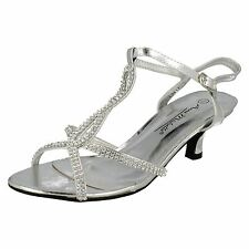 LADIES ANNE MICHELLE SILVER DIAMANTE SANDALS WITH ANKLE STRAP STYLE: L3417