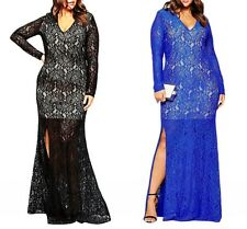 Sexy Deep V-Neck Lace Long Sleeve Slit Plus Size Maxi Ball Gown Evening Dresses
