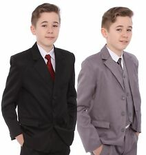 Boys Wedding Suit  Grey Black Navy 5 pieces  1-15 Years Party Christening Forma