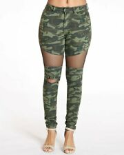 Women camouflage ripped destroyed skinny denim jeans Long pants Party Trousers