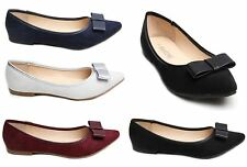 Womens Ladies Flat Pumps Dolly Shoes Classy PU Bow Suede Pointy Cute Casual 3-8