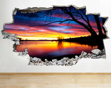 Sunset Sunrise Tropical Night Wall Vinyl Poster Room Wall Decal Art 3D Stickers