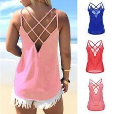 Sexy Women Summer Loose Casual Blouse Hollow Out Tank Tops Cute Strappy Vest Top