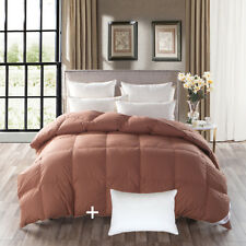 800FP Goose Down Ccomforter Bed Duvet With Feather 3 Chamber Support Pillow
